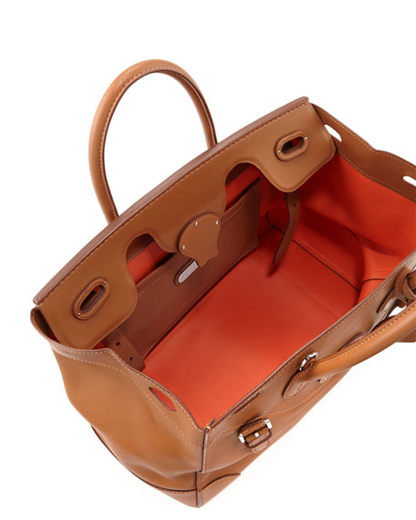 Soft Ricky 33 Soft Calfskin Satchel Bag, Tan