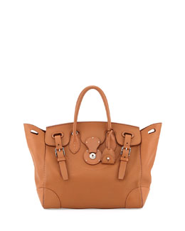 Ralph Lauren Soft Ricky 33 Medium Soft Calfskin Satchel Bag, Tan