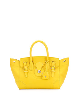 Ralph Lauren Soft Ricky 27 Small Soft Calfskin Satchel Bag, Yellow