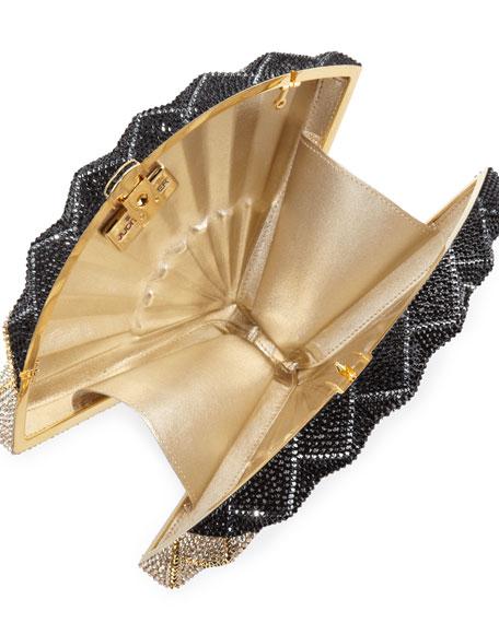 Fluttering Crystal Fan Minaudiere, Jet Multi