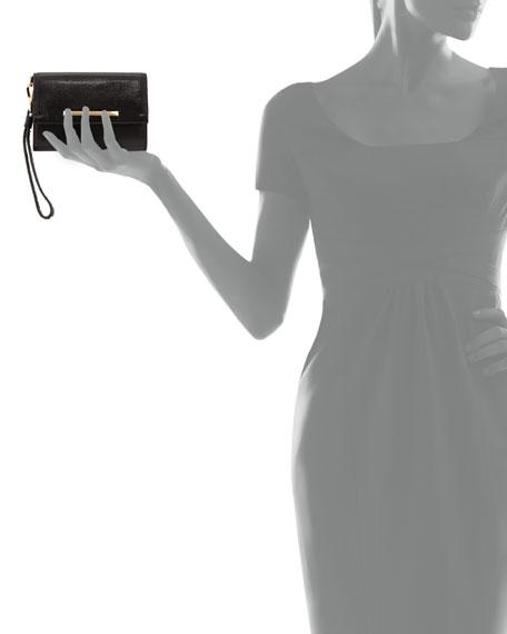 Tippy Leather Flap Wristlet Clutch Bag, Black