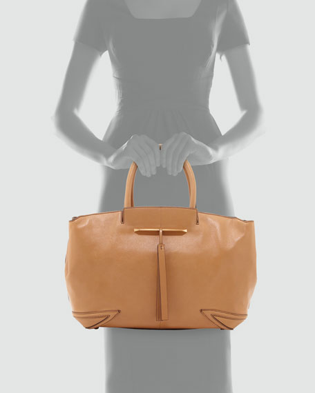 Grace East/West Leather Tote Bag, Camel
