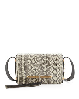 B Brian Atwood Bo Snakeskin Crossbody Bag, Natural