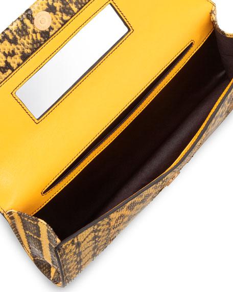 Ingrid Watersnake Clutch Bag, Yellow