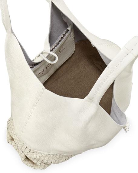 Canotta Woven-Bottom Hobo Bag, White