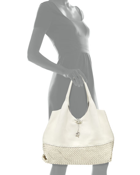 Canotta Woven-Bottom Hobo Bag, White