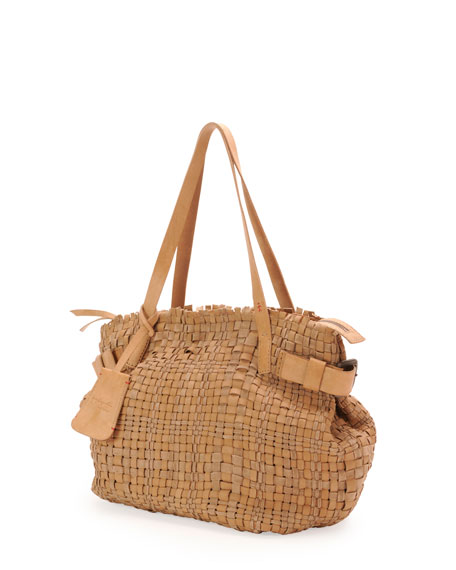 Opale Woven Leather Tote Bag, Neutral