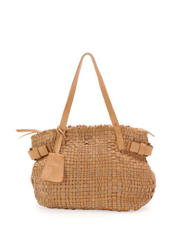 Henry Beguelin Opale Woven Leather Tote Bag, Neutral