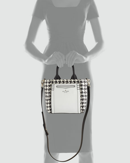 claremont drive marcella houndstooth tote bag, black/cream