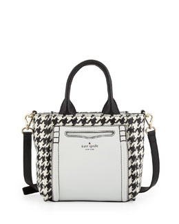 kate spade new york claremont drive marcella small houndstooth tote bag, black/cream