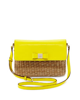 kate spade new york vita limoni clara straw shoulder bag, vivid yellow