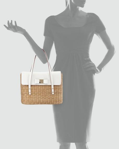 vita limoni luisa straw shoulder bag, natural/fresh white