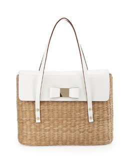 kate spade new york vita limoni luisa large straw shoulder bag, natural/fresh white