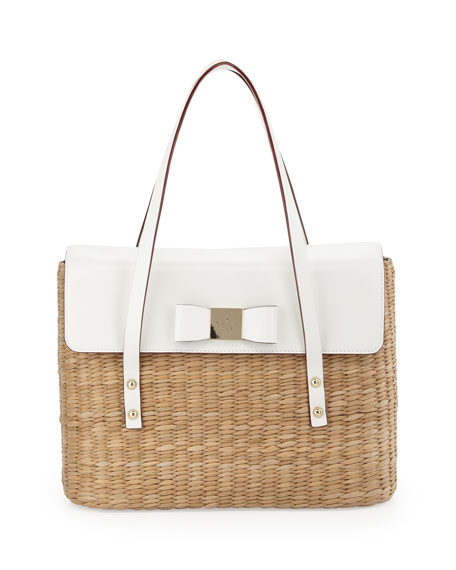 vita limoni luisa straw shoulder bag, natural/fresh white