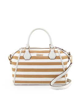 kate spade new york catherine street pippa striped straw satchel bag, fresh white/natural