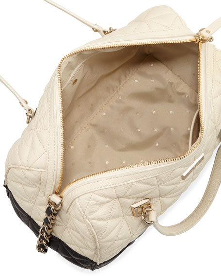 sedgewick place kensey quilted satchel bag, pale cream/black