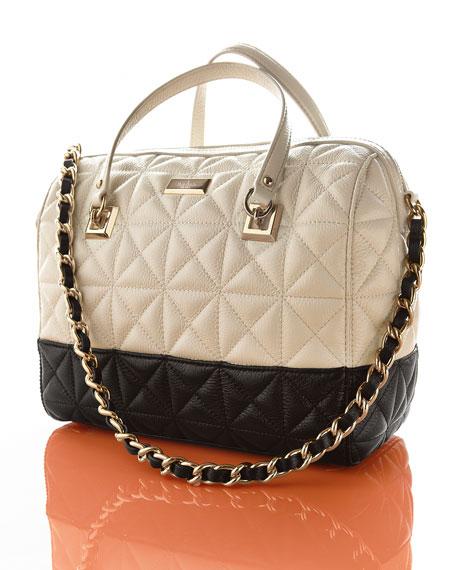 sedgewick place kensey quilted satchel bag, pale cream/black