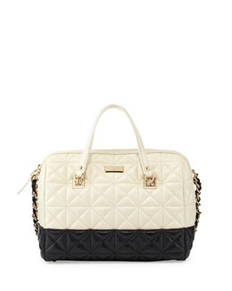 kate spade new york sedgewick place kensey quilted satchel bag, pale cream/black