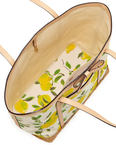 capri espadrille francis tote bag, painterly lemons