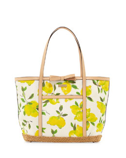 kate spade new york capri espadrille francis tote bag, painterly lemons