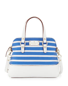 kate spade new york grove court striped maise satchel bag, azure blue/white
