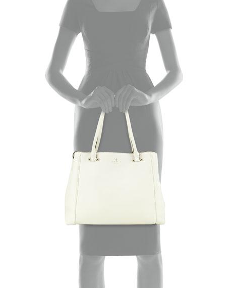 charles street leather tote bag, cream