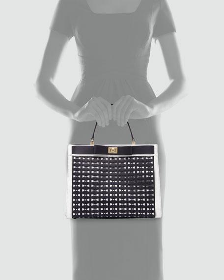 mayfair drive perforated tullie satchel bag, true navy