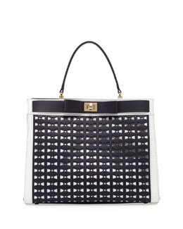 kate spade new york mayfair drive perforated tullie satchel bag, true navy