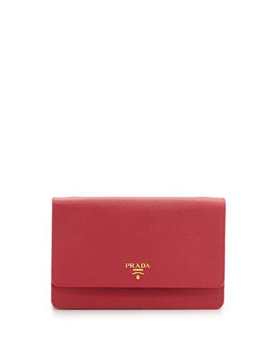 Prada Saffiano Wallet Crossbody Bag, Pink (Rosa)