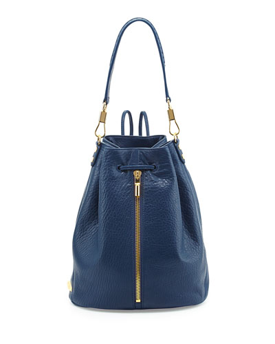 Elizabeth and James Cynnie Leather Drawstring Backpack, Yachting Navy
