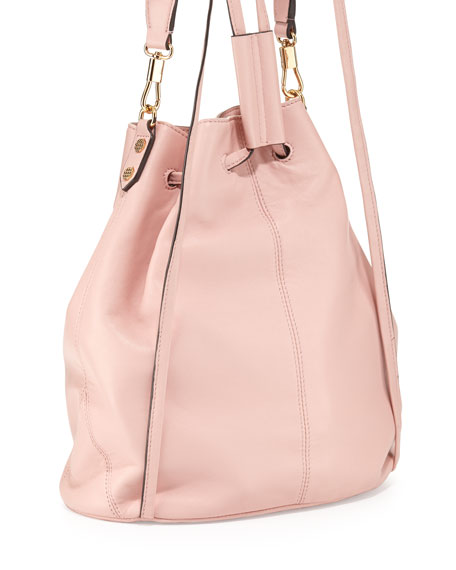 Cynnie Leather Drawstring Backpack, Pink Beach