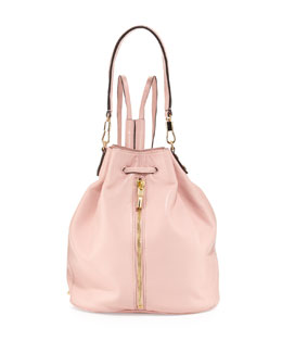 Elizabeth and James Cynnie Leather Drawstring Backpack, Pink Beach