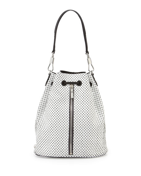 Cynnie Perforated Backpack, White/Black