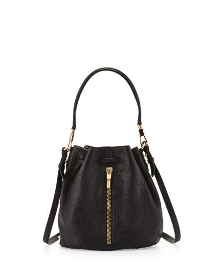 Cynnie Mini Bucket Lambskin Bag, Black