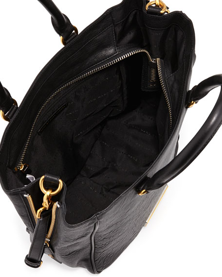 Washed Up Leather Tote Bag, Black