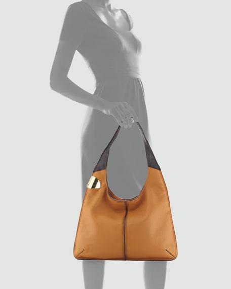 Leather Sack Hobo Bag, Tan Multi