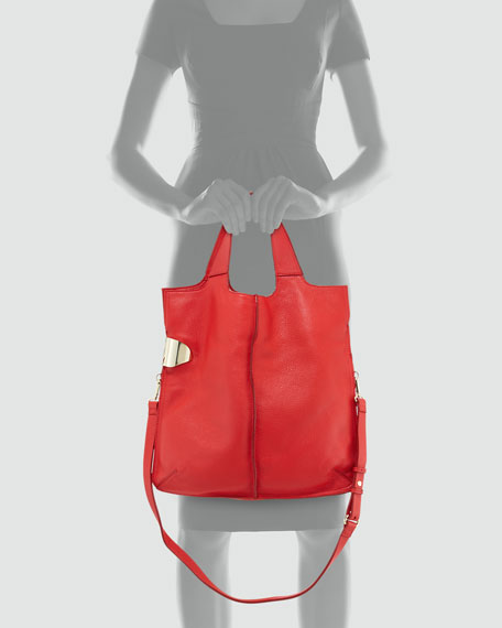North-South Leather Tote Bag, Vermillion