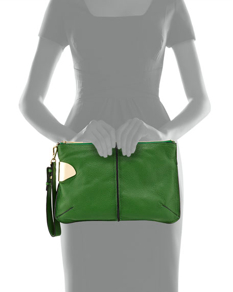Large Leather Wristlet Clutch Bag, Grass