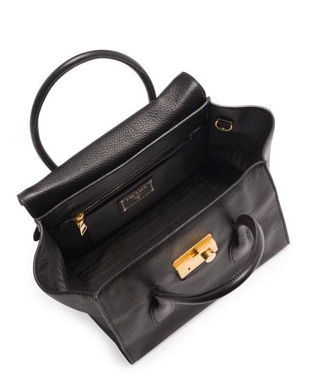 Daino Twin-Pocket Flap Bag, Black (Nero)