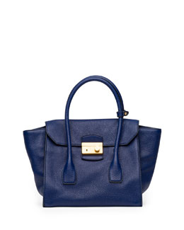 Prada Daino Small Twin-Pocket Flap Bag, Dark Blue (Inchiostro)