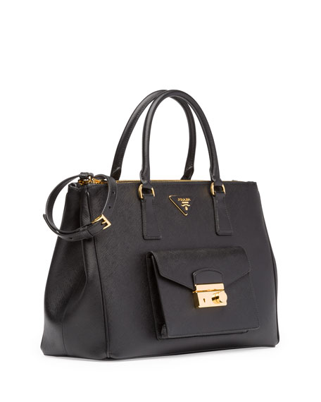 prada replica bags - Prada Saffiano Galleria Tote with Pocket, Black (Nero)