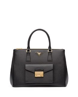 Prada Saffiano Galleria Tote with Pocket, Black (Nero)