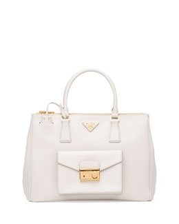 Prada Saffiano Galleria Tote with Pocket, White (Talco)