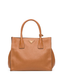 Prada Daino Tote Bag, Brown (Brandy)