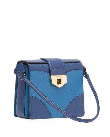 Bicolor Saffiano Turn Lock Shoulder Bag, Multi Blue (Bluette+Cobalto)