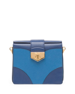 Prada Bicolor Saffiano Turn Lock Shoulder Bag, Multi Blue (Bluette+Cobalto)