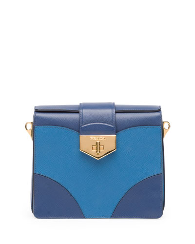 Prada Bicolor Saffiano Turn Lock Shoulder Bag, Multi Blue (Bluette+Cobalto)