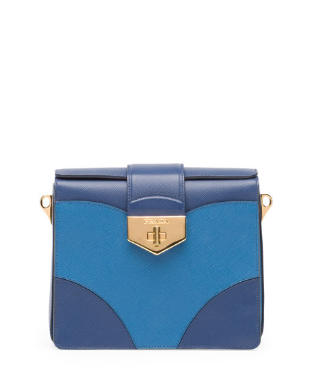 Bicolor Saffiano Turn Lock Shoulder Bag, Multi Blue (Bluette+Cobalto)