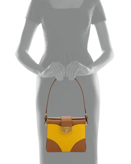 Bicolor Saffiano Turn-Lock Shoulder Bag, Brown/Yellow (Caramel+ Mimosa)