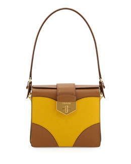 Prada Bicolor Saffiano Turn-Lock Satchel Bag, Brown/Yellow (Caramel+ Mimosa)